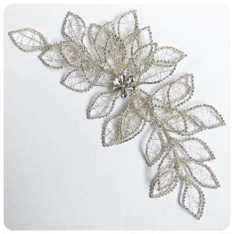 silver big flower head dress