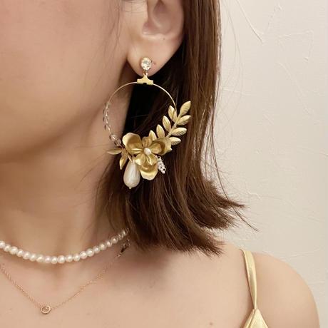 flower hoop pierce&earring