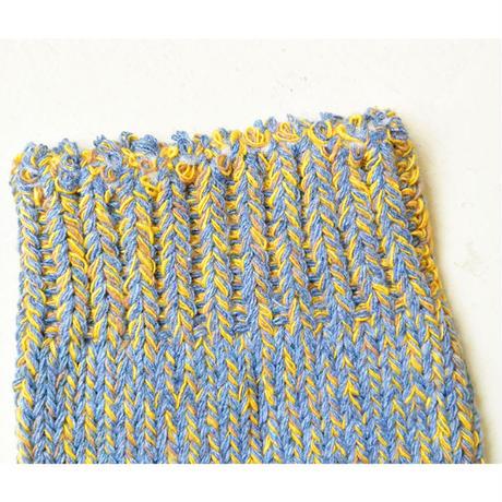 "【 h footwear / portugal made 】""chine"" cotton mix socks  -sax × yellow-  (imp-001)"