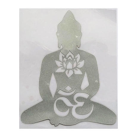 """buddha & om & lotus"" black sticker -17.5 × 14.5cm- (ar215-18)"