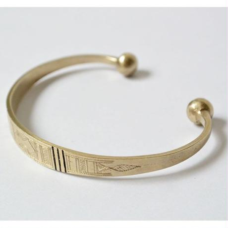 """""""African・Touareg(トゥアレグ族) Hand Made"""" Metal Bangle Flat type -Silver- (AS-13-A)"""