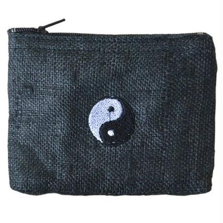 """Ying-yang"" Hemp Pouch -Black- (ip003)"