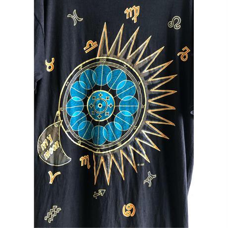 "【90's euro vintage/ EURO STYLE】""Zodiac & moon"" T shirts  -big size / black- (OM-216-46)"