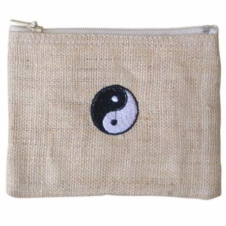 """Ying-yang"" Hemp Pouch -Natural- (ip004)"