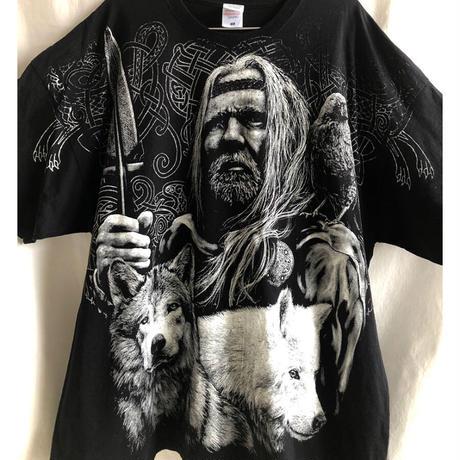 "【used / FRUIT OF THE LOOM】""ancient celts & husky"" big print T shirts -XXXL / black- (OM-216-58)"