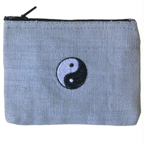 """Ying-yang""   Hemp Pouch -Gray-  (ip002)"