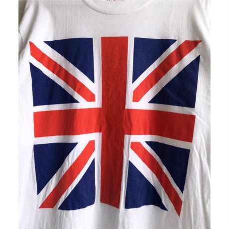 """【 80's uk vintage】""""union jack"""" mods T-shirts  -M / white- (OM-216-42)"""