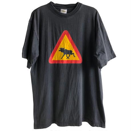 """【80's sweden vintage】""""moose"""" caution pointer T-shirts  - M / black-  (OM-216-50)"""