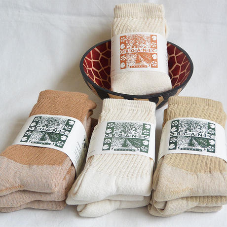 """ORGANIC THREADS"" organic regular crew socks ""3pack set"" -3color mix- [s.m.l.3size] (otr_mix)"