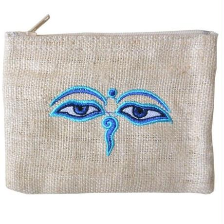 """Buddha Eye"" Hemp Pouch -Natural- (ip001)"