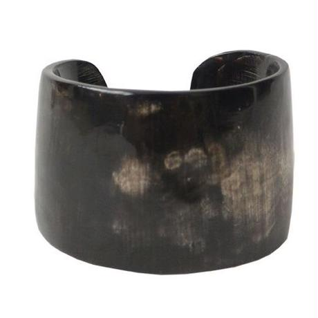 """""""African・Madagascar(マダガスカル) Hand Made"""" Cow's Horn Bangle -Black Marble- (AS-3B)"""