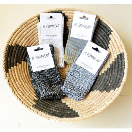 "【 h footwear / portugal made 】""chine"" cotton mix socks  -black × white-  (imp-003)"