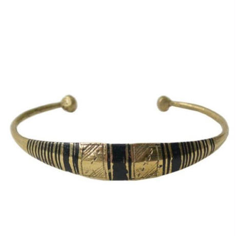 """【Restock !】""""African・Touareg(トゥアレグ族) Hand Made"""" Metal Bangle - Gold- (AS-2A)"""