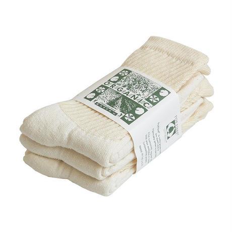 """ORGANIC THREADS"" organic regular crew socks ""3pack set"" -cream- [s.m.l.3size] (otr_nat)"