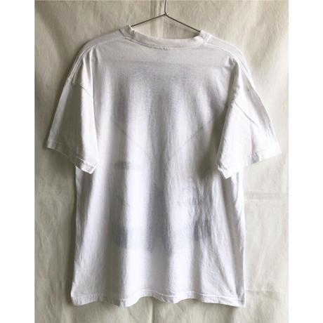 "【80's germany vintage】""tuxedo"" monotone print T-shirts  -M / white- (OM-216-34)"