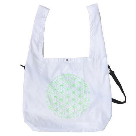 """E-yang"" ●flower of life●  2 Way Rip-Stop Tote Bag ""White"" (et-fw)"