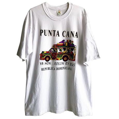 "【 80's dominican vintage】""punta cana"" rastaman print T -shirts   -XL / white- ( OM-216-38)"