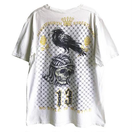 【used / minute mirth】mexican skull & crow big print T shirts   -L / white-  (OM-216-35)