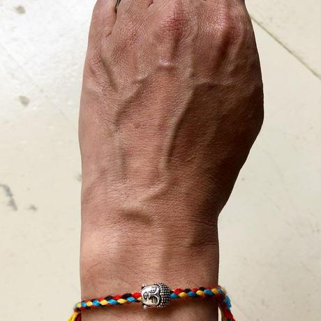 "【Tibet hand made】""buddha"" amulet bracelet -red × sax × yellow / free size- (ar215-7)"