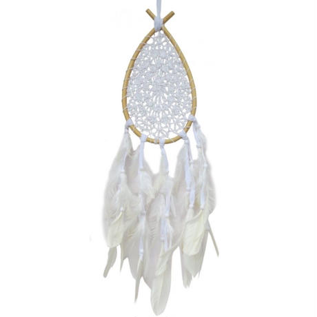 """Dreamcatcher""  White Drop rattan with crocheted net (sdc005)"