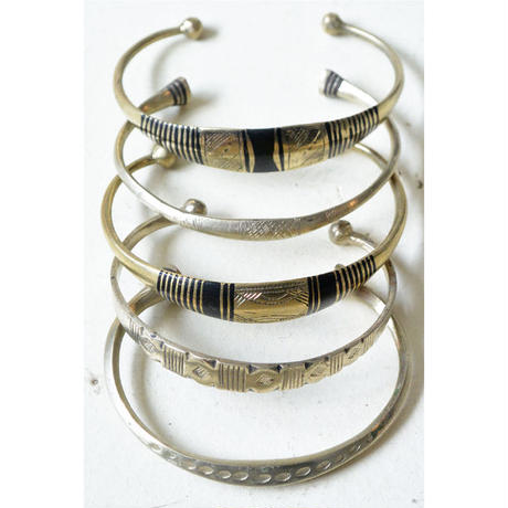 """【Restock !】""""African・Touareg(トゥアレグ族) Hand Made"""" Metal Bangle -Silver-  (AS-18)"""