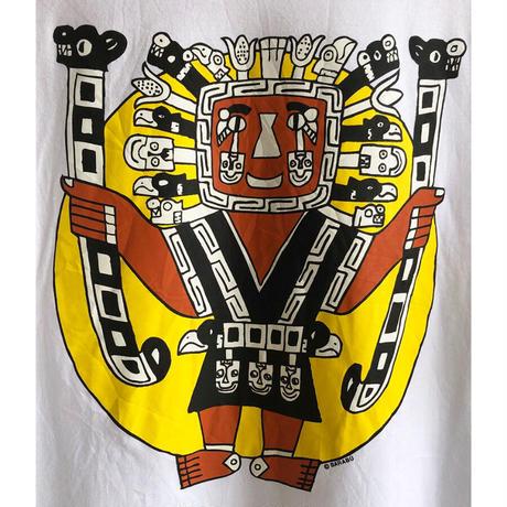 "【euro vintage】""maya""  print T  -shirts -M / white- (OM-216-37)"