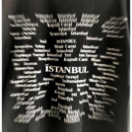 "【90's turkey vintage】""Istanbul"" monotone gradation print T-shirts - L / black- (OM-216-54)"