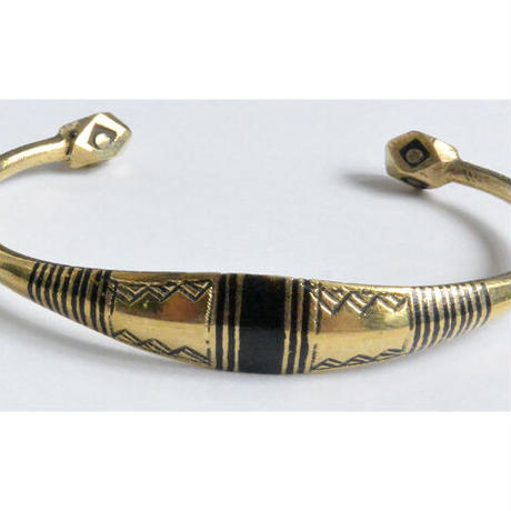 """【Restock !】""""African・Touareg(トゥアレグ族) Hand Made"""" Metal Bangle -gold- (AS-19F)"""