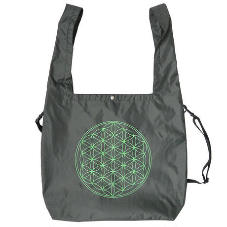 """E-yang"" ●flower of life●  2 Way Rip-Stop Tote Bag ""Olive Gray"" (et-fo)"