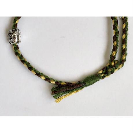 "【Tibet hand made】""buddha"" amulet bracelet  -olive × brown × yellow / free size-   (ar215-6)"
