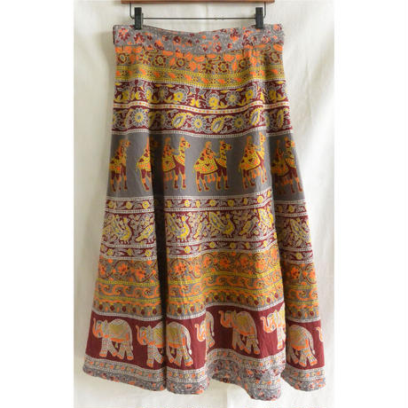 """【vintage / made in India】""""JAGANNATH""""  total pattern  wrap  skirt  -gray / free size- (om-212-13)"""