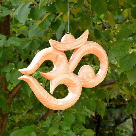 """om"" natural wood ornament (so001)"