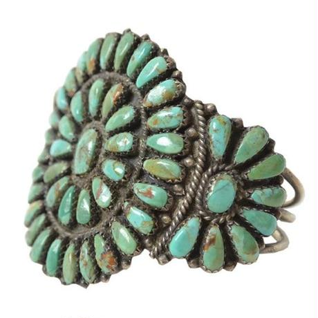 """【70's Vintage /  Navajo】 """"Turquoise Cluster"""" Silver Bangle / rare Inidan jewelry   (a-6)"""