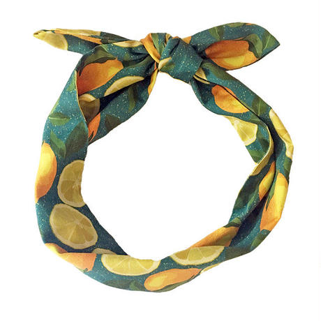 cotton hair tie/lemon/blue green