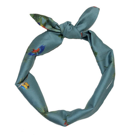 cotton hair tie/rain forest walk/blue
