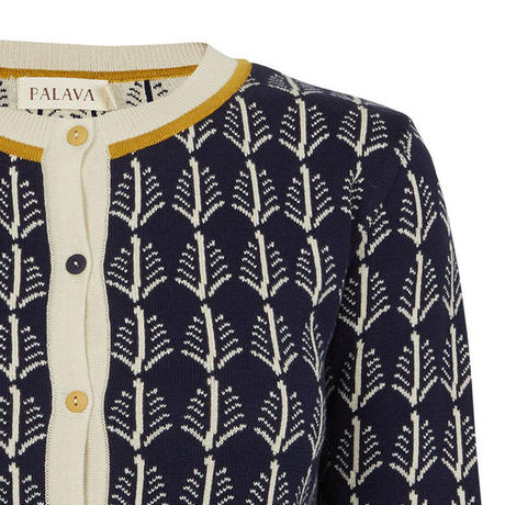 cardigan/navy cream feathers