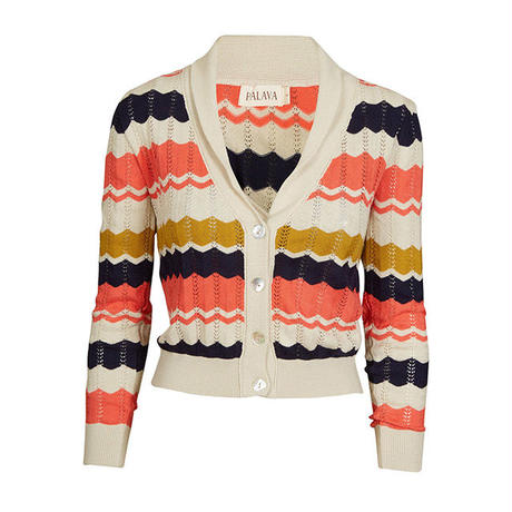 shawl neck cardigan/navy/coral