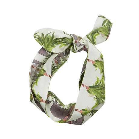 tencel hair tie/tropical walking zoo/ivory