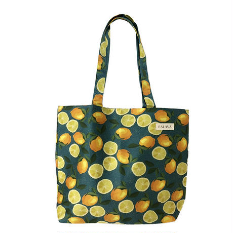 cotton shopper/lemon/blue green