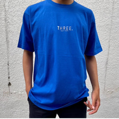 THREEドット Silver T-shirt Royal blue