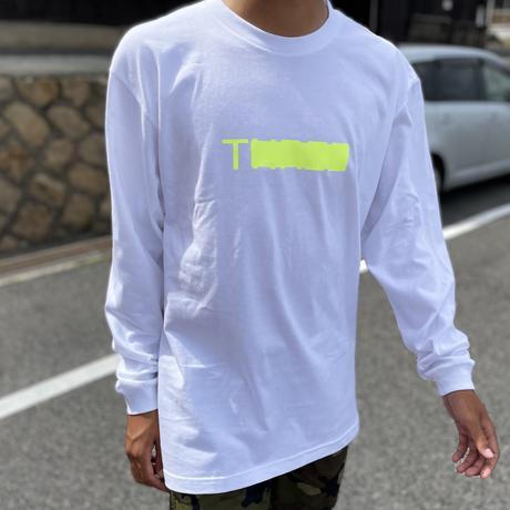 THREE Neon long T-shirt  white