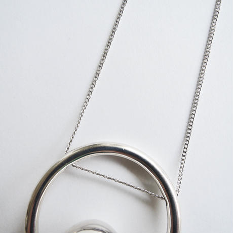 bola circle necklace  (silver)
