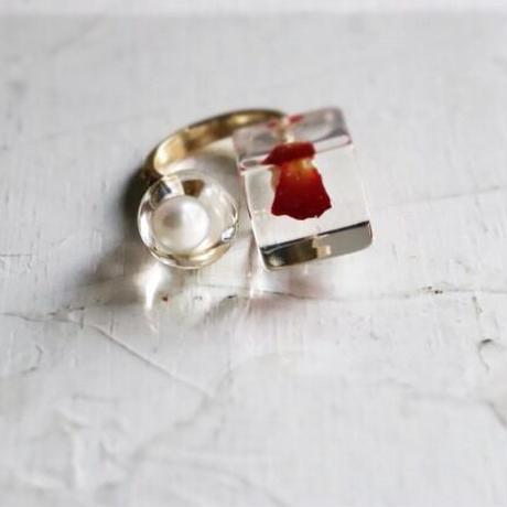 咲ring  バラの花びら x 淡水パール