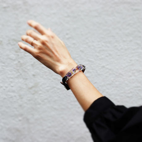ブレスレット透明色の影(1.2cm幅) ミニブラキカム x Blackレザー