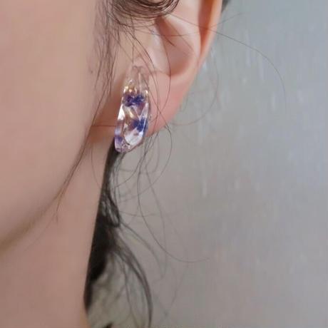 氷ピアス、イヤリング  紫のかすみ草