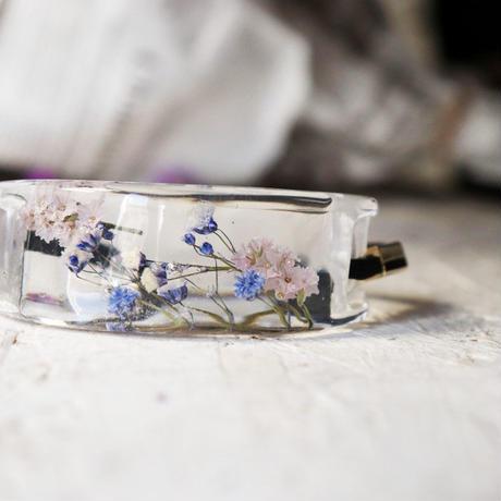 薄紫の霞草とペールピンクスターチスのヘアゴム 幅2.5cm