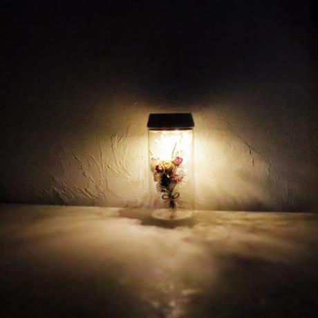 fleur message「星とお名前のイメージから束ねた花束」ガラス瓶の光る植物標本(直径8cm×高さ17.5㎝)
