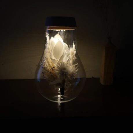 「冬月」ガラス瓶の光る植物標本(直径13.5cm×高さ21.0㎝[口径直径8.0cm])ルナリアの花束