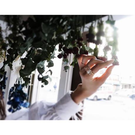 咲リング アリッサムと淡水パール