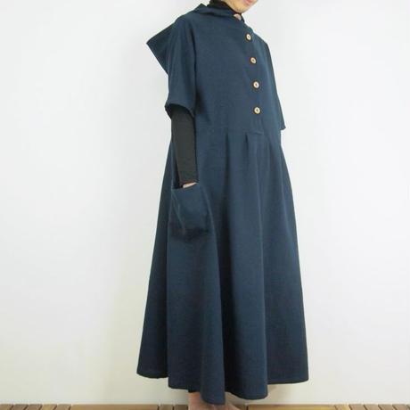 Kimamaフードロングワンピース(木綿 濃紺)【受注生産対応】